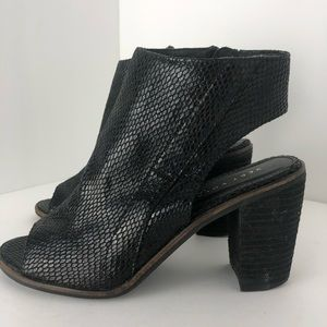Very Volatile open toe, open back booties, black 7